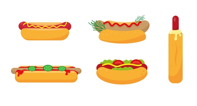白い背景のホットドッグアイコンのセットです。ケチャップ、マスタード、野菜を使ったクラシックなフレンチミュンヘンソーセージ。図。