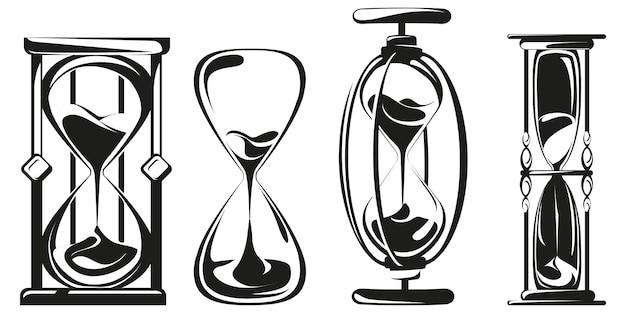 Набор песочных часов в монохромном стиле.
