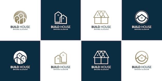 Набор коллекции логотипов дома с современной концепцией premium векторы