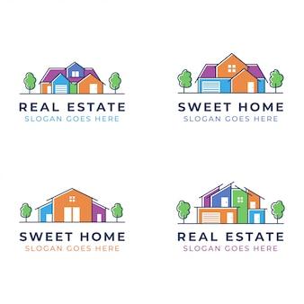 Набор дизайна логотипа дома для недвижимости или риэлтора
