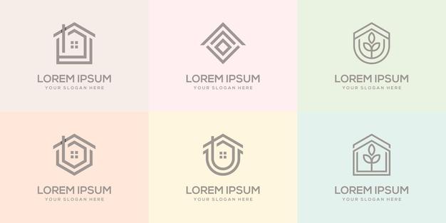 家のロゴのデザインテンプレートのセット