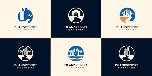 집, 바다, 파도, 코코넛 나무 로고 아이콘 기호 디자인 그래픽 그림의 집합