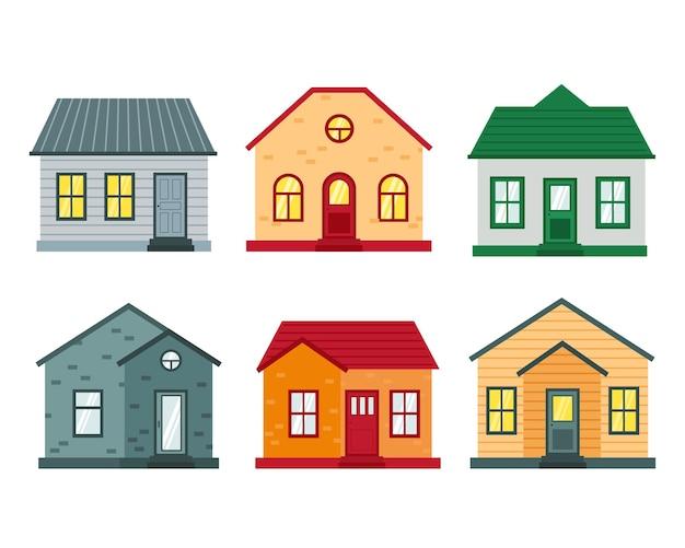 家の正面図のセット。都市と郊外の家のコレクションアイコン。フラットベクトルイラスト。