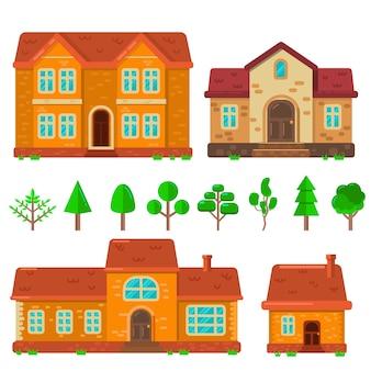 Набор иллюстраций домов в плоском стиле.