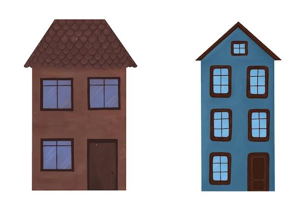 문과 창문이있는 갈색과 파란색 색상의 집 세트