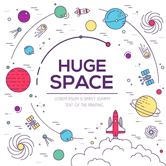 Набор иллюстрации огромной космической вселенной. космическая инфографика. значок космоса.