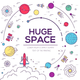 巨大な宇宙のインフォグラフィックのセット