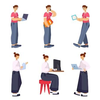 Набор человеческих мультфильмов бизнес-коллекции, люди, работающие характер, изолированные иллюстрации