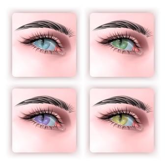 파충류 눈동자 3d 일러스트와 함께 인간의 눈 세트