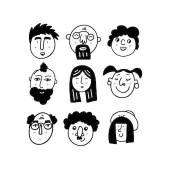 ポジティブな感情を表現する人間の顔のセット