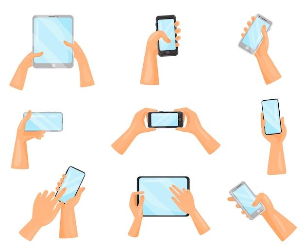 Набор человеческих рук с мобильными телефонами и цифровыми планшетами. гаджеты с сенсорными экранами. электронные устройства