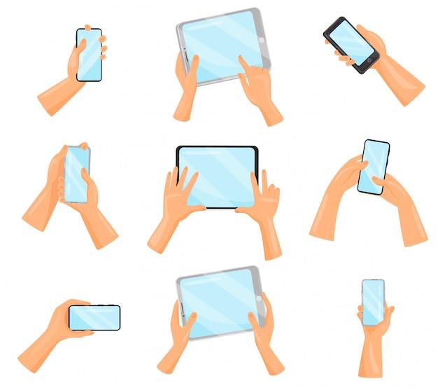 Набор человеческих рук с смартфонов и планшетных компьютеров. электронные гаджеты. цифровые устройства
