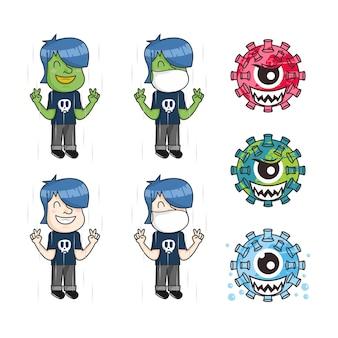 コロナウイルス漫画イラストと医療の顔の保護マスクの人間のセット