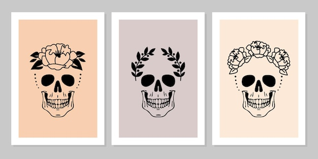 Набор человеческих черепов с цветочным лавровым венком красивая коллекция портрета человеческого черепа