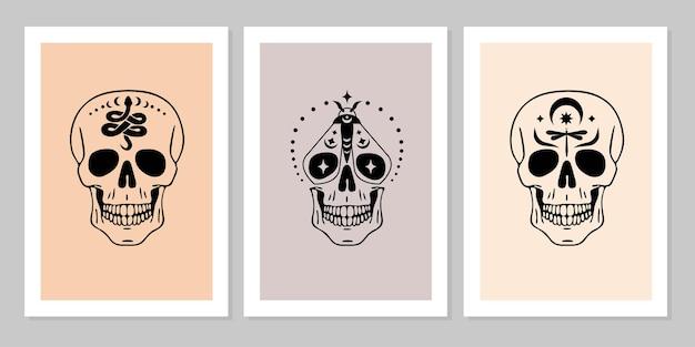 Набор человеческих черепов со змеей, бабочкой, стрекозой, луной, звездой, коллекция портрета человеческого черепа