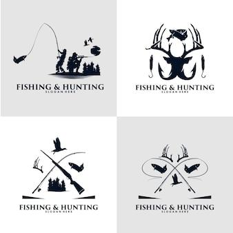 狩猟と釣りのロゴデザインのセット