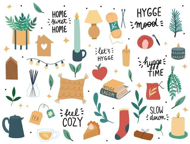 Набор элементов hygge. декор интерьера в скандинавском стиле.