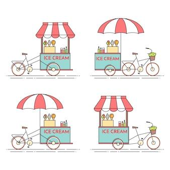 Набор мороженого велосипедов. тележка на колесах. пищевой киоск. векторная иллюстрация плоская линия арт. элементы для строительства, жилья, рынка недвижимости, архитектурного дизайна, флаера инвестиций в недвижимость, баннер