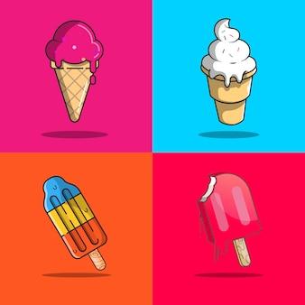 アイスクリーム、コーン、サンデー、ポピクルのベクトル図のセット