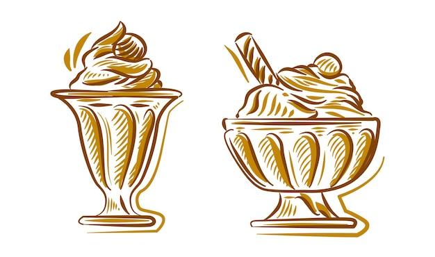 브랜딩 로고 배경 요소에 대 한 아이스크림 손 그리기 그림 낙서 세트