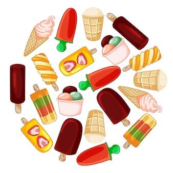 Набор мороженого рисованной иконки венок