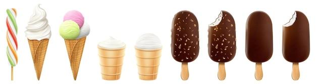 白い背景で隔離のワッフルコーンとアイスキャンディーのアイスクリームのセット。リアルな3dベクトル