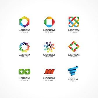 アイコン要素のセットです。事業会社のための抽象的なロゴのアイデア。インターネット、通信、技術、幾何学的概念。コーポレートアイデンティティテンプレートのピクトグラム。ストックイラスト