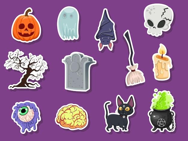 아이콘 할로윈 스티커 세트입니다. 호박, 유령, 뇌, 박쥐, 해골, 묘비, 나무, 양초, 빗자루, 안구, 고양이, 마녀 가마솥. 벡터 일러스트 레이 션