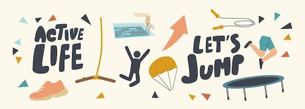 Набор иконок активной жизни, летней экстремальной адреналиновой активности, летнего отдыха с парашютом, прыжков с веревкой, парашютом, батутом и тарзанкой с типографикой. векторные иллюстрации шаржа