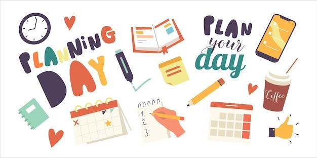 アイコンの日計画のテーマのセット。手作業によるtodoリスト、カレンダー、職務と取引リスト付きのノートブック。アプリケーションまたはリマインダー、コーヒー、サムズアップサイン付きのスマートフォン。漫画のベクトル図