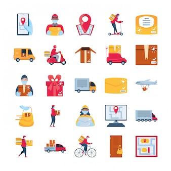 アイコンのセットの配送および輸送商品