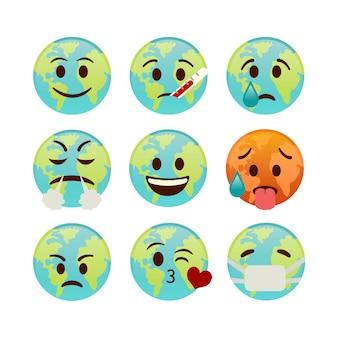 地球のアイコン、さまざまな顔を持つ絵文字のセット