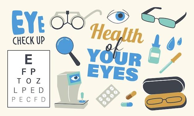 Набор иконок тема диагностики зрения. очки, таблица снеллена, оптометрия и флакон с раствором с пипеткой. проверка зрения, здравоохранение, концепция назначения окулиста. линейные векторные иллюстрации