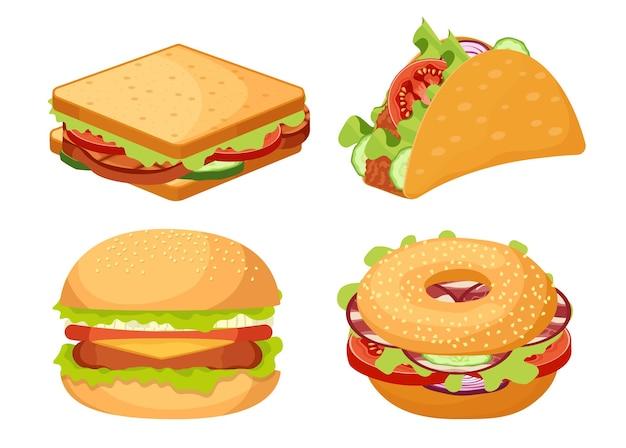 Набор иконок фастфуд, еда на вынос гамбургер, сэндвич, текс-мекс тако закуска, изолированные на белом фоне