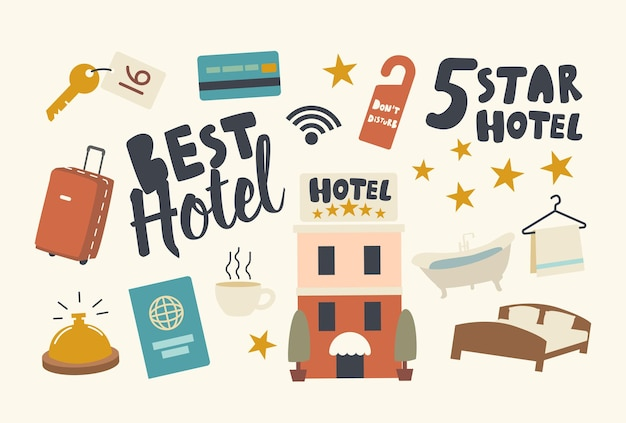 Набор иконок пятизвездочный отель наивысшего качества гостиничного обслуживания тема