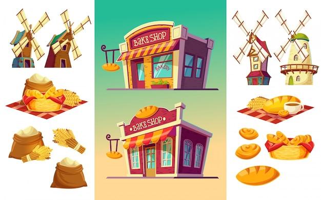 Набор иконок для пекарни два магазина выпечки, свежеиспеченный хлеб, уши пшеницы, мешки с мукой, ветряные мельницы
