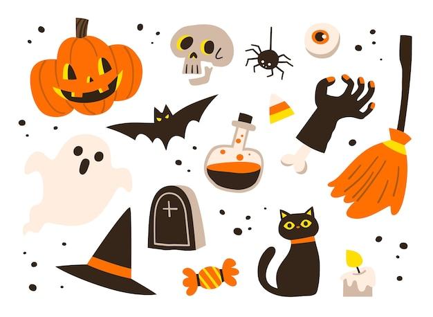 Набор иконок для хэллоуина. тыква, призрак, летучая мышь, конфеты, шляпа ведьмы и другие предметы на тему хэллоуина.