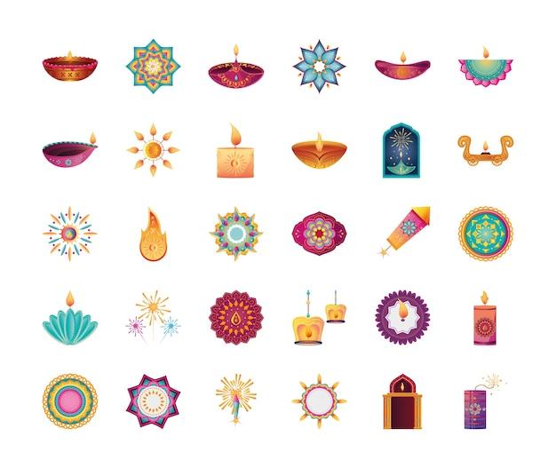 Набор иконок для индийского фестиваля огней на белом фоне