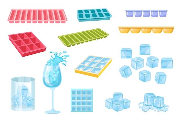 白い背景で隔離の水を凍結するためのアイコンの角氷とプラスチックトレイのセット。スプラッシュと氷の結晶、冷凍ブロックの山と溶けた氷のワイングラス。漫画のベクトル図