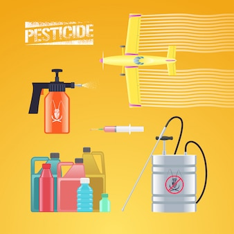 アイコン、農業および農業-作物ダスター飛行機、スプレー、スプリンクラー、殺虫剤のボトル、注射のイラストのセットです。農薬記号のグラフィックロゴ