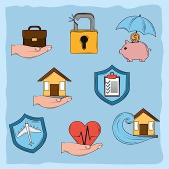 Страхование набор иконок