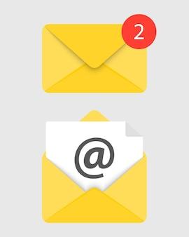 아이콘 메일, 전자 메일의 집합입니다. 열리고 닫힌 봉투입니다. 온라인 우편 표지입니다. 봉투에 동봉된 종이 문서. 새로운 메시지. 메일 아이콘입니다. 벡터 일러스트 레이 션.