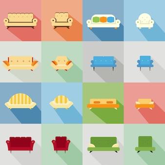 다양한 일치하는 소파와 의자의 아이콘 세트