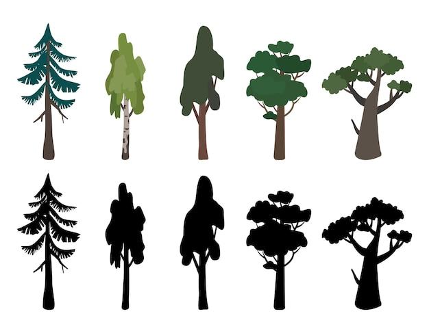 Набор иконок деревьев березы дуба ели и их силуэт зеленый и коричневый символ природы