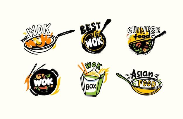 Набор иконок или эмблем вок и палочек, китайская еда и огонь, концепция приготовления свежих жареных азиатских блюд с ингредиентами на сковороде. этикетка для дизайна китайского дома или ресторана. векторные иллюстрации
