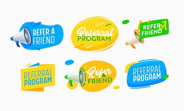 아이콘 세트는 마케팅 캠페인을 위해 친구 및 추천 프로그램 배너를 참조합니다. 확성기로 마케팅 광고 경고