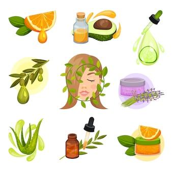 自然化粧品のテーマに関連するアイコンのセットです。エッセンシャルオイル。有機植物からのスキンケア製品