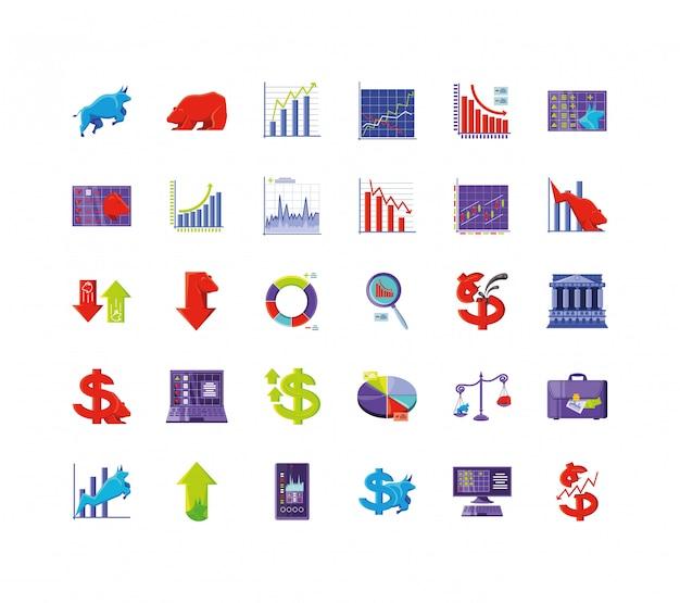 Набор иконок фондового рынка