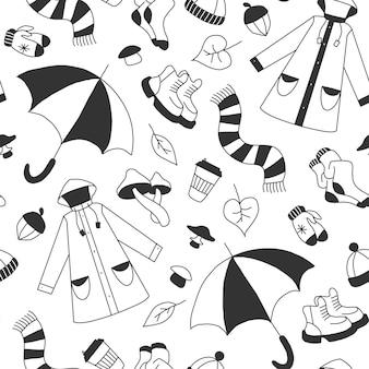 秋の漫画の幼稚な落書きスタイルベクトル着色イラストを象徴するアイコンのセット