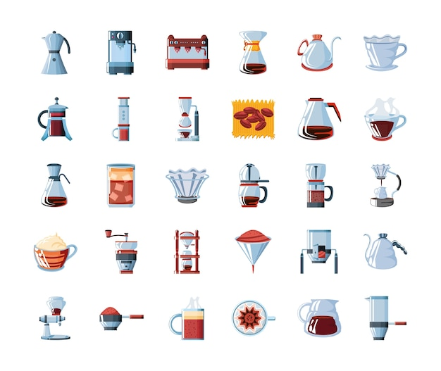 Набор инструментов иконок и посуды кофе векторные иллюстрации дизайн
